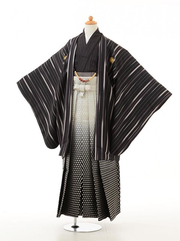 小学生卒業式袴男児0949黒グレー×白黒ぼかし