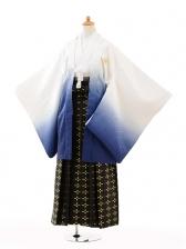 ジュニア袴男児0992白紺ぼかし紋付×黒ゴールド