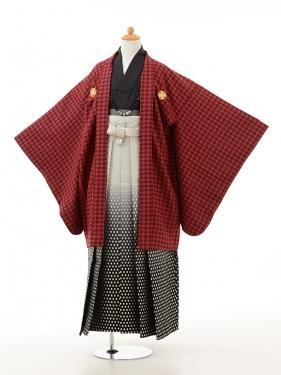 小学生卒業式袴男児0945千鳥格子赤×白黒ぼ