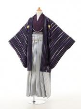 ジュニア袴男児0947紫縞×白紺ラメ縞袴