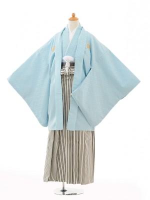 小学生 卒業式 袴 男児 0988水色紋付×黒シルバー