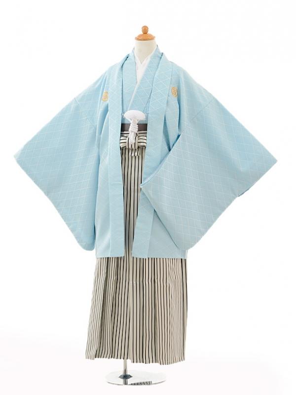 小学生卒業式袴男児0988水色紋付×黒シルバー