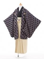 ジュニア袴男児0960紺に梅模様×ベージュラメ縞袴