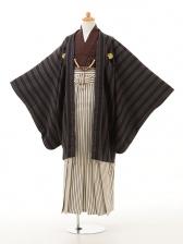 ジュニア袴男児0948黒茶×白黒縞袴