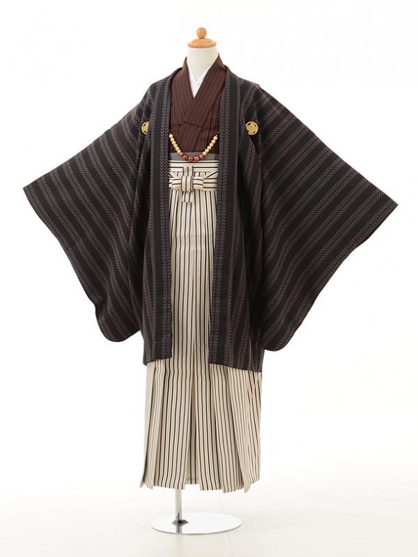 小学生卒業式袴男児0948黒茶×白黒縞袴