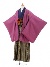 ジュニア袴男児0974紫格子×黒金ダイヤ縞袴