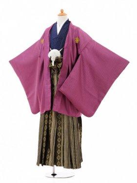小学生卒業式袴男児0974紫格子×黒金ダイヤ縞