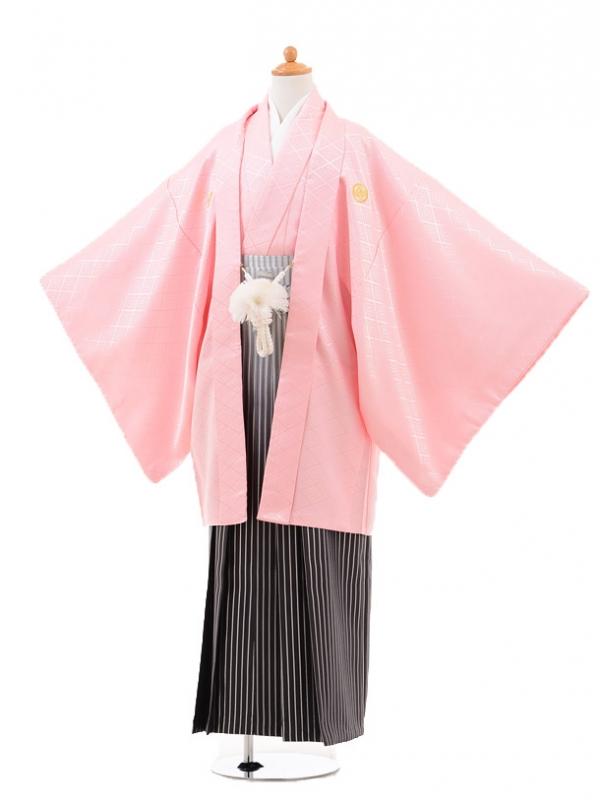 小学生卒業式袴男児0976ピンク×シルバーラメぼか