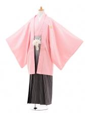 ジュニア袴男児0976ピンク×シルバーラメぼかし袴