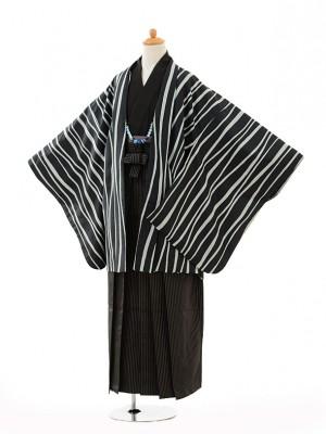 小学生 卒業式 袴 男児 0998濃紺変わり縞×黒縞