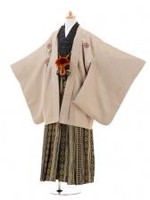 ジュニア袴男児0973ゴールド縞×黒金ダイヤ縞袴
