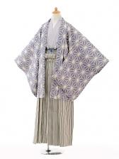 ジュニア袴男児0990薄紫麻の葉×黒シルバー縞袴