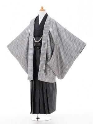 小学生 卒業式 袴 男児 0958シルバー×黒ラメ縞袴
