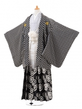 ジュニア袴男児0971黒格子×白黒ぼかし銀袴