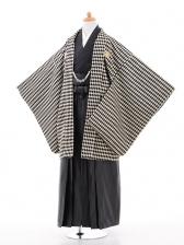 ジュニア袴男児0957黒ゴールドダイヤ柄×黒ラメ縞袴