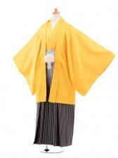 ジュニア袴男児0978イエロー×シルバーラメぼかし袴