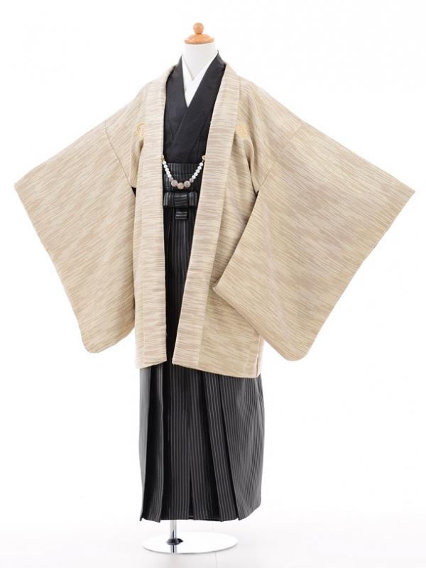 小学生卒業式袴男児0959ベージュゴールド×黒ラメ