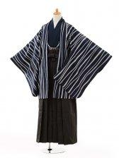 小学生卒業式袴男児0999紺変わり縞×黒縞袴