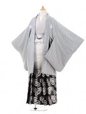 ジュニア袴男児0970水色斜格子×白黒ぼかし銀