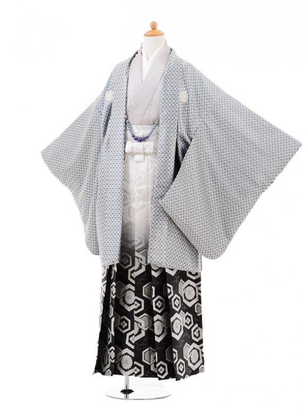 小学生卒業式袴男児0970水色斜格子×白黒ぼ