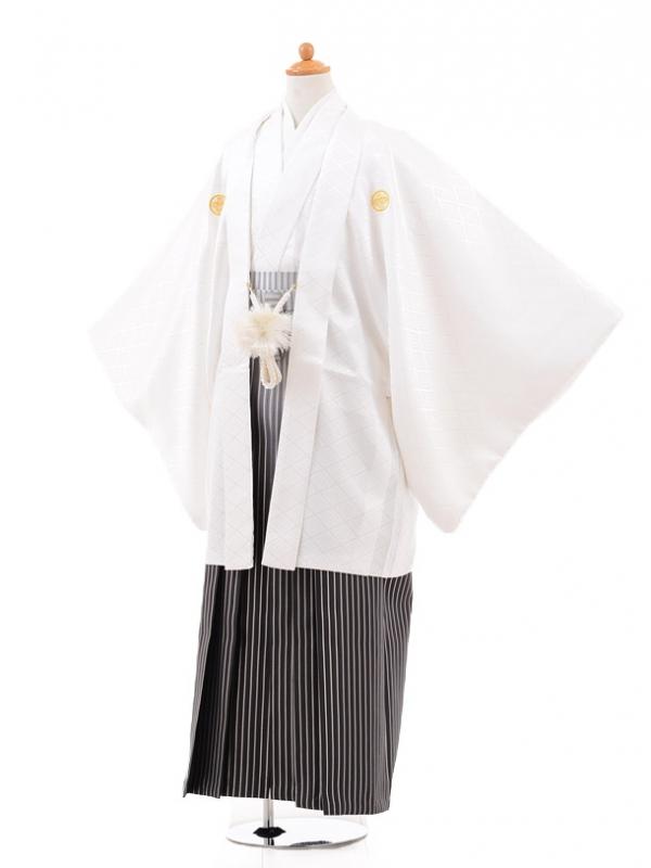 小学生卒業式袴男児0979白×シルバーラメぼかし