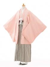 小学生卒業式袴男児0985ピンク紋付×黒シルバー