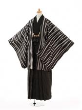 小学生卒業式袴男児0997黒変わり縞×黒縞袴