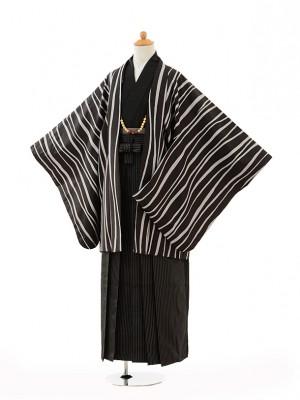 小学生 卒業式 袴 男児 0997黒変わり縞×黒縞袴