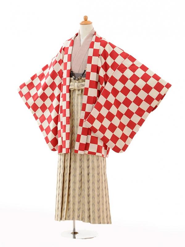 小学生卒業式袴男児0996赤市松×ベージュ縞袴