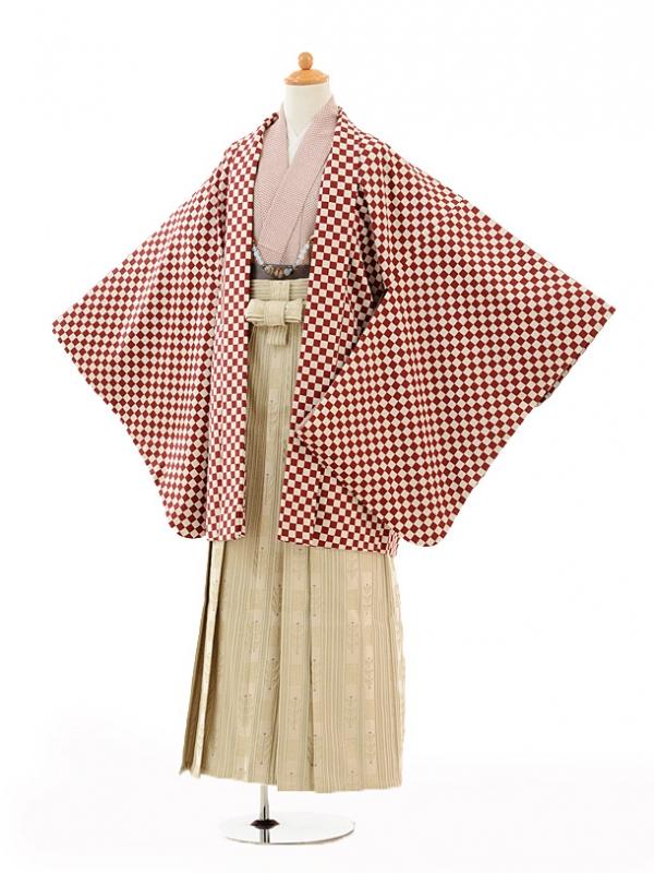 小学生卒業式袴男児0993エンジ市松×ベージュ袴