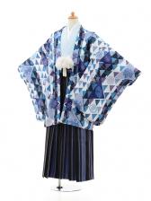 ジュニア袴男児0981ブルー×ブルー縞袴