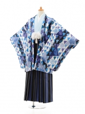 小学生卒業式袴男児0981ブルー×ブルー縞袴