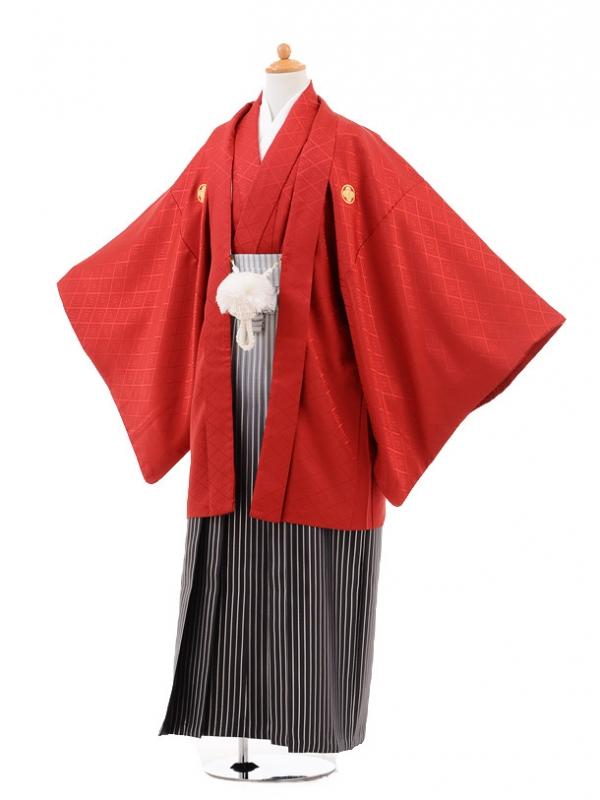 小学生卒業式袴男児0977赤×シルバーラメぼかし