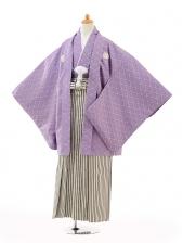 ジュニア袴男児0987紫紋付×黒シルバー縞袴