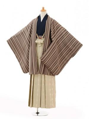 小学生 卒業式 袴 男児 0994茶色縞×ベージュ袴