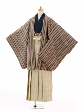 小学生卒業式袴男児0994茶色縞×ベージュ袴