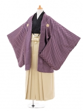 ジュニア袴男児0969紫斜格子×ベージュラメ縞袴