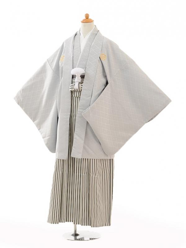 小学生卒業式袴男児0986シルバー紋付×黒シルバー