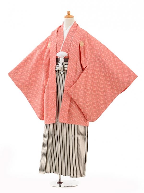 小学生卒業式袴男児0989赤紋付×黒シルバー縞