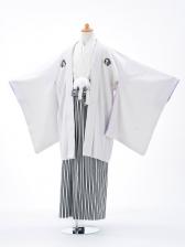 小学生卒業式袴男児0910白×縞袴