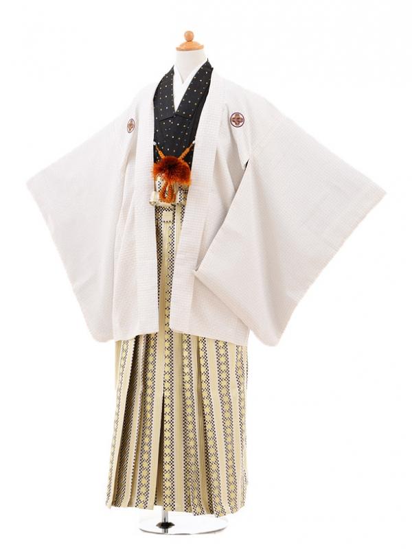 小学生卒業式袴男児0975白ドット×黒金市松星