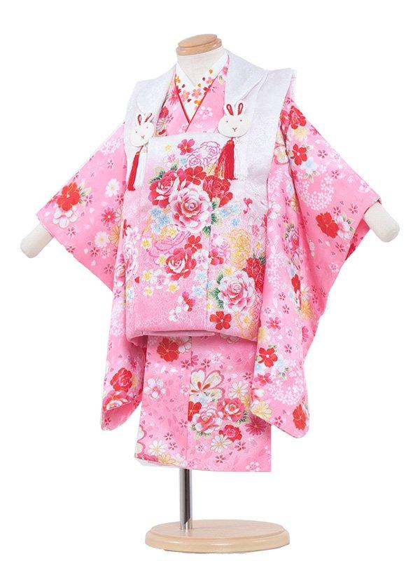 七五三レンタル(2歳女の子被布)2041 ピンク色/バラ