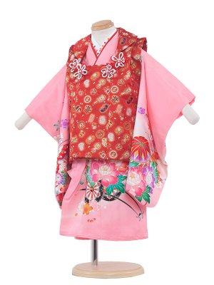 七五三レンタル(2歳女の子被布)2063 ピンク/蝶と鞠(正絹)