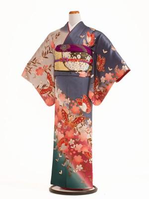 【正絹】NEO訪問着レンタル 176桜と蝶の舞