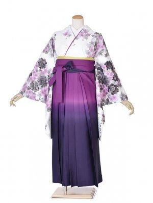 卒業袴レンタル白地紫花/紫ぼかしバラ刺繍袴