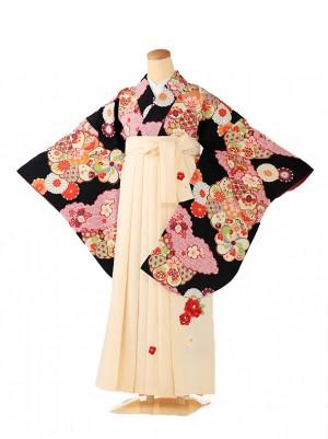 小学生卒業式袴レンタル(女の子) 黒×白椿 9210