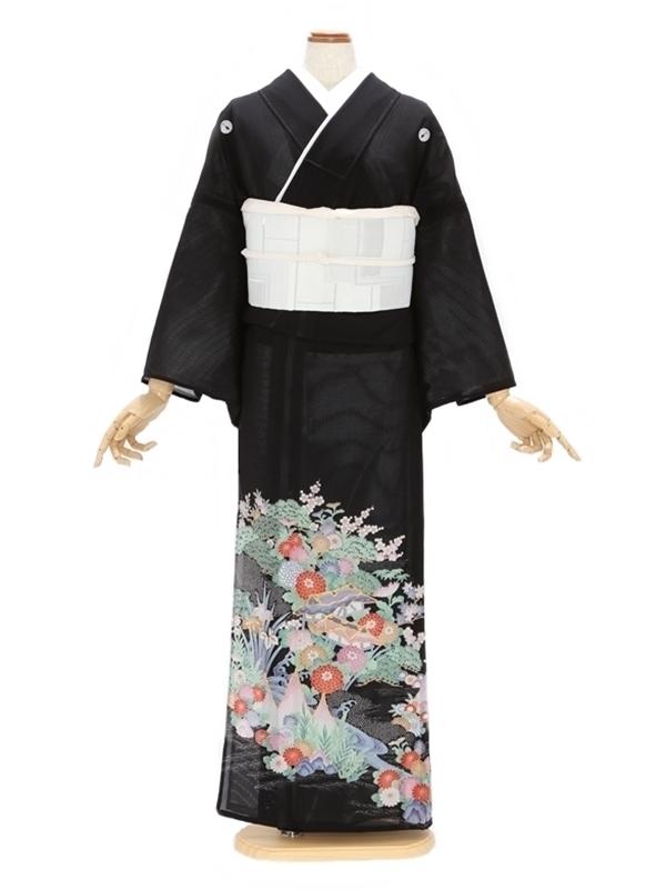 留袖(絽)23四季の花に屋形船