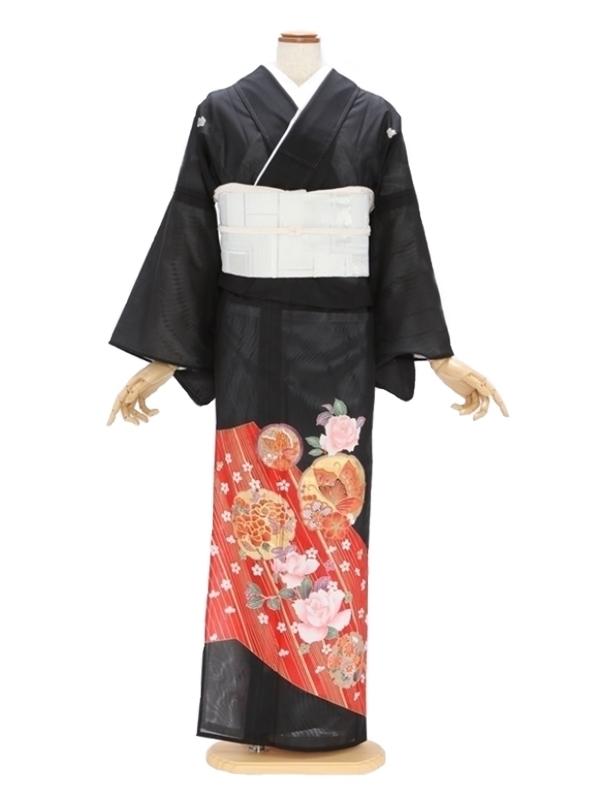 留袖(絽)53花紋にぼたん バラ 蝶