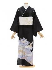 留袖(絽)32紫 鶴 松波染め