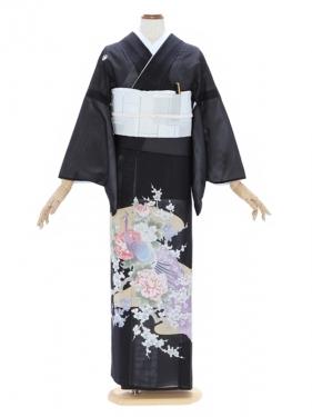 留袖(絽)33紫 孔雀にピンクぼたん 梅